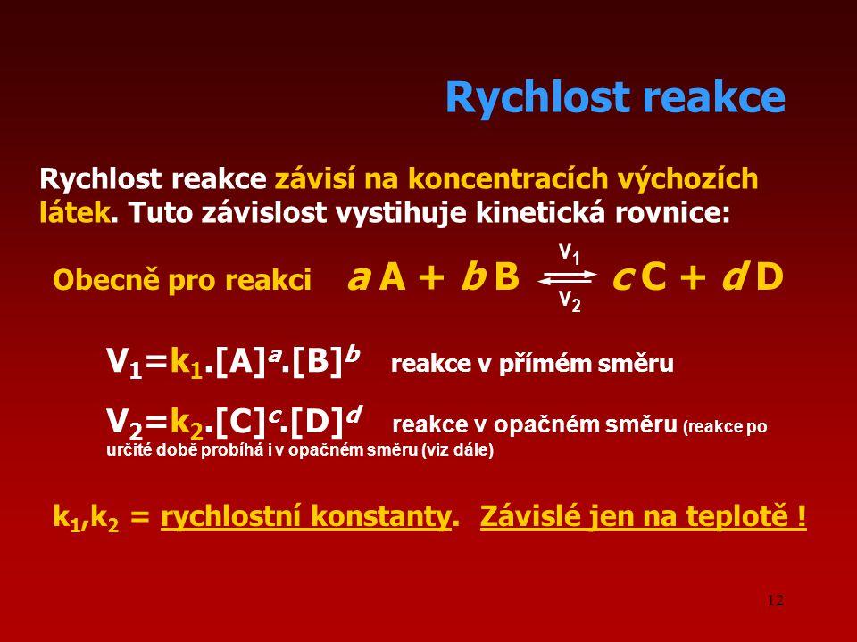 Rychlost reakce V1=k1.[A]a.[B]b reakce v přímém směru